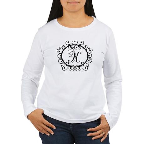 K Monogram Initial Letter Women's Long Sleeve T-Sh