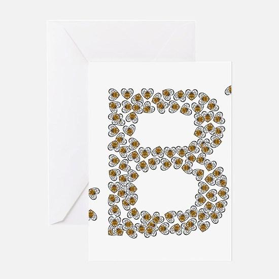 """B"" (made of bees) Greeting Card"