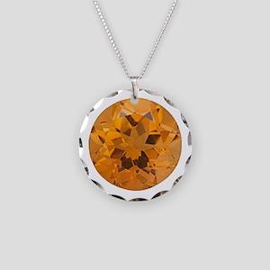 """Citrine Round Image"" Necklace Circle Charm"