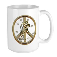 Aquarius Zodiac Peace Large Mug