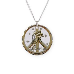 Aquarius Zodiac Peace Necklace