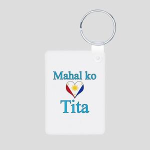 I Love Aunt (Filipino) Aluminum Photo Keychain