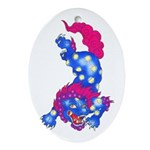 Foo Dog Tattoo Ornament (Oval)