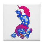 Foo Dog Tattoo Tile Coaster