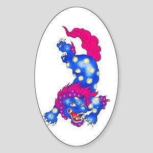 Foo Dog Tattoo Sticker (Oval)