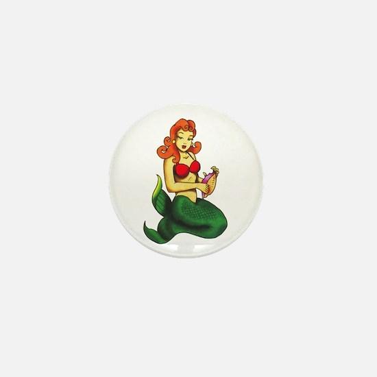 Mermaid Tattoo Mini Button