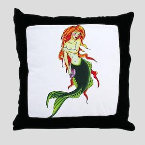 Mermaid Tattoo Throw Pillow