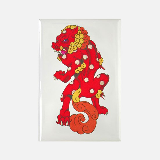 Red Foo Dog Tattoo Rectangle Magnet