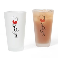I heart YOGA Drinking Glass