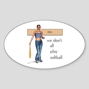 Lesbian Softball Oval Sticker