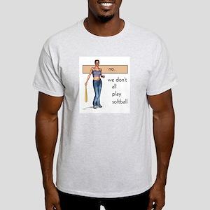 Lesbian Softball Ash Grey T-Shirt