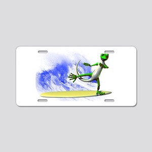 Surfing Gecko Aluminum License Plate