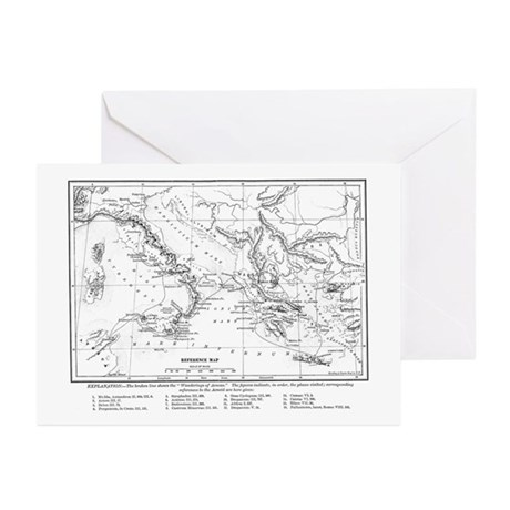 Wanderings of Aeneas Map Greeting Cards (Pk of 10)