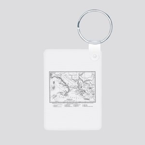 Wanderings of Aeneas Map Aluminum Photo Keychain
