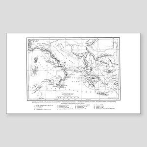 Wanderings of Aeneas Map Sticker (Rectangle)
