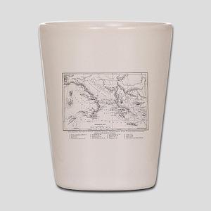 Wanderings of Aeneas Map Shot Glass