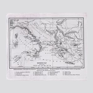 Wanderings of Aeneas Map Throw Blanket