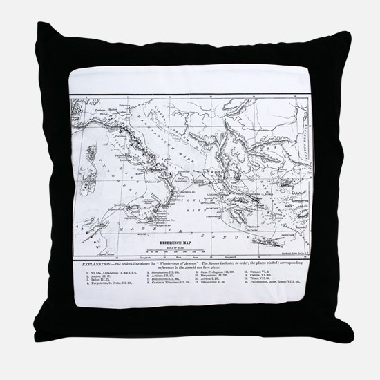 Wanderings of Aeneas Map Throw Pillow