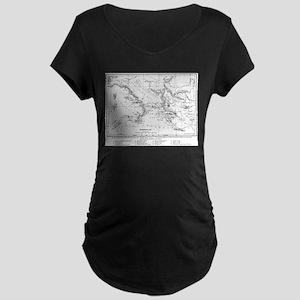 Wanderings of Aeneas Map Maternity Dark T-Shirt