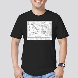 Wanderings of Aeneas Map Men's Fitted T-Shirt (dar