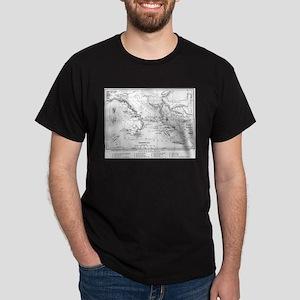 Wanderings of Aeneas Map Dark T-Shirt