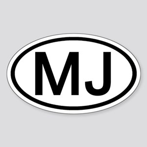 MJ - Initial Oval Oval Sticker