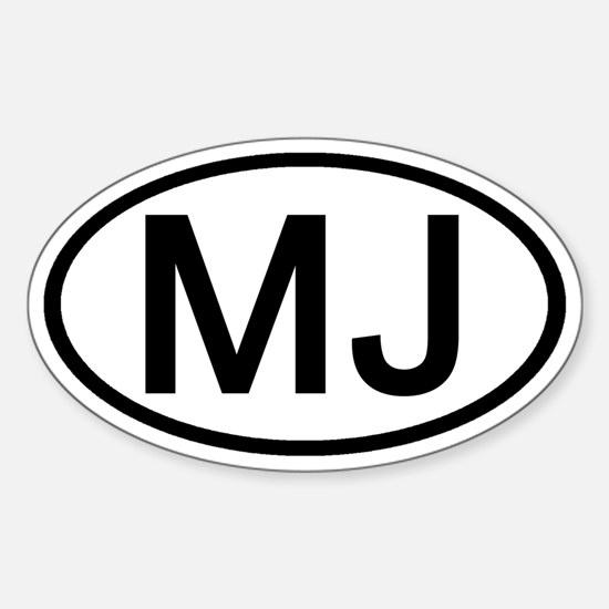 MJ - Initial Oval Oval Decal