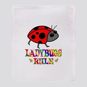 Fun Ladybugs Rule Throw Blanket