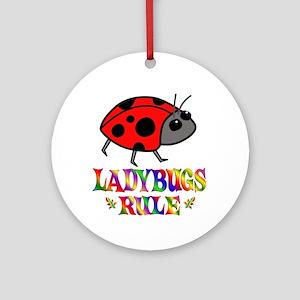 Fun Ladybugs Rule Ornament (Round)