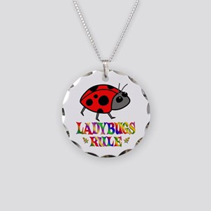 Fun Ladybugs Rule Necklace Circle Charm