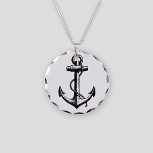 Vintage Anchor Necklace Circle Charm