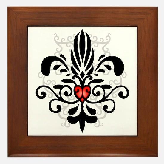New Orleans Fleur Heart Framed Tile