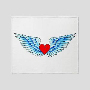 Winged Heart Tattoo Throw Blanket