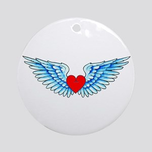 Winged Heart Tattoo Ornament (Round)