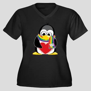 LGBTQ Pride Penguin Scarf Women's Plus Size V-Neck