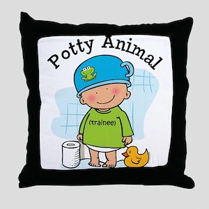 Potty Animal Boy Throw Pillow