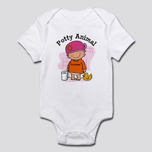 Potty Animal Girl Infant Bodysuit