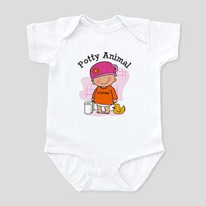 Potty Animal Girl Infant Bodysuit