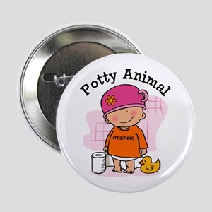 "Potty Animal Girl 2.25"" Button"
