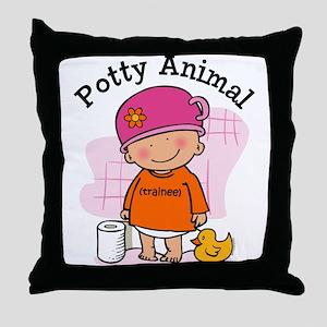 Potty Animal Girl Throw Pillow