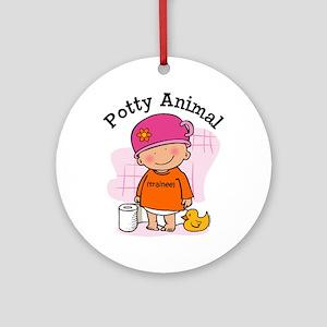 Potty Animal Girl Ornament (Round)