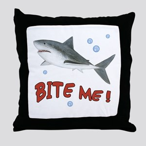 Shark - Bite Me Throw Pillow