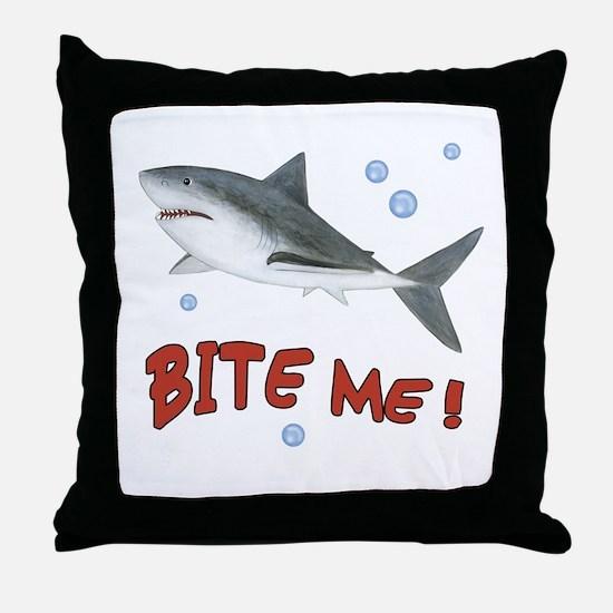 Shark - Bite Me Throw Pillow