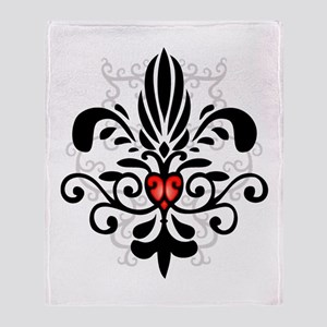 New Orleans Fleur Heart Throw Blanket