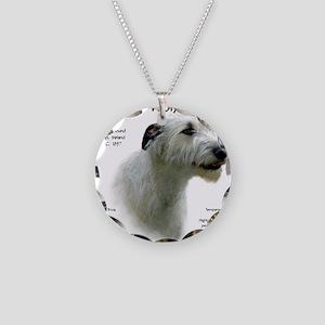 Irish Wolfhound (white) Necklace Circle Charm
