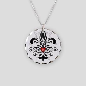 New Orleans Fleur Heart Necklace Circle Charm