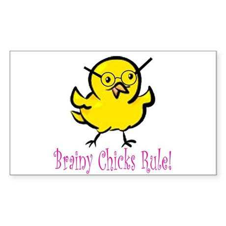Brainy Chicks Sticker (Rectangle)