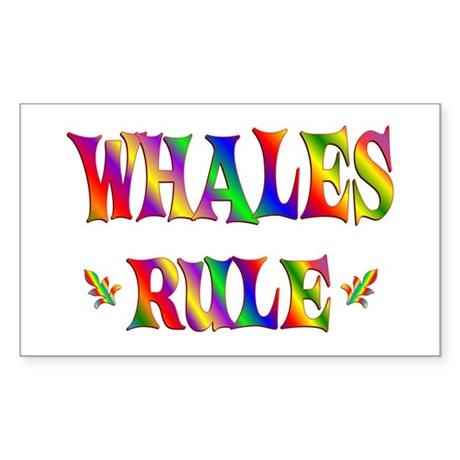 WHALES RULE Sticker (Rectangle 10 pk)