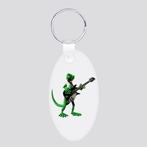 Electric Guitar Gecko Aluminum Oval Keychain