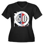 5.0 50 RWB Women's Plus Size V-Neck Dark T-Shirt